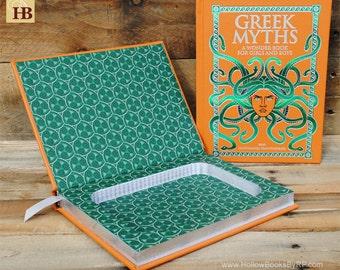 Book Safe - Greek Myths - Orange and Green Leather Bound Hollow Book Safe