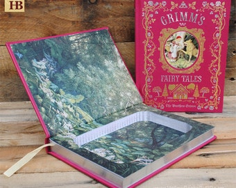 Book Safe - Grimms Fairy Tales - Red Leather Bound Hollow Book Safe