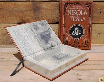 Book Safe - Nikola Tesla - Leather Bound Hollow Book Safe