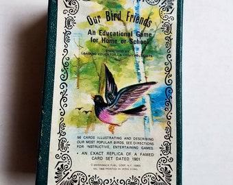"Vintage ""Our Bird Friends"" Merrimack Publishing. 56 bird cards. Card game. Bird ephemera. Bird art. Collector cards. Replica set. Crows."