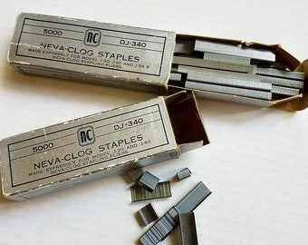 NEVA-CLOG Staples DJ-340. For J-30, J-60 and J-56R for stapling pliers. Almost full box of 5000 + partial box.  Office supply.  Germany