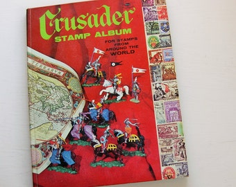 Whitman Crusader Stamp Album: For Stamps From Around the World.  Vintage stamp album. Philately. Stamp collecting. Postage.