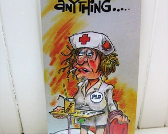 Funny get well card. Flo. Nurse card. Gi-Gi Cards. Gallant. 1980s. Funny vintage cards. Vintage humor.