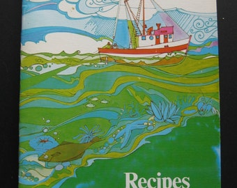 "Seafood recipes. ""Oregon Trawl Seafood Recipes."" Cooking. Hostess gift. Salmon. Shrimp. 1980s. Beach house. Coastal living. Roger Cooke"