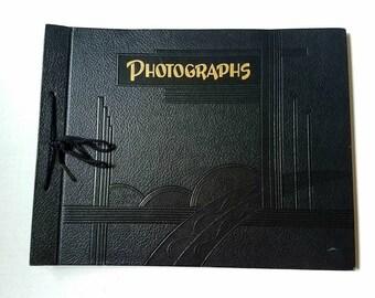 Vintage Photograph album with art deco design. 20 pages w/ faint glue residue. Black scrapbook. Photography.