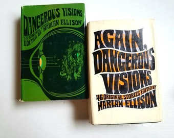 "Harlan Ellison ""Dangerous Visions"" and ""Again Dangerous Visions"" book club edition anthologies. Science fiction. Fantasy.  1960s/1970s"