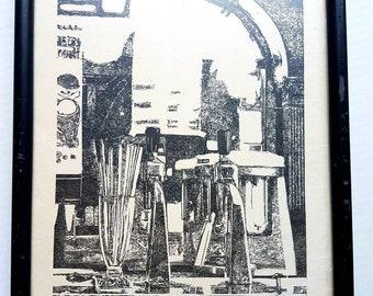 "Jack Daniel's Dan Quest woodcut. ""Lynchburg Drugstore"" 274/2000. 1975. Signed. Fine art print. Jack Daniel Hollow. Tennessee Whiskey."