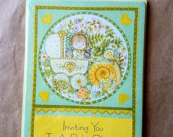 8 vintage Gibson baby shower invitations, still in wraps.  New baby. Baby carriage. Vintage hostess. NOS. Snail art. Baby garden. New mom