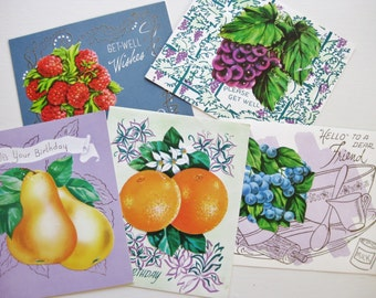 Gardener gift. Vintage greeting cards. Fruit recipes. Fruit art. Housewarming. Garden art. Berries. Stationery.