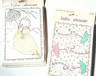 Vintage Michel & Co. baby shower invitations. 2 packs of 10 in wraps. 2 designs. New mom. New parents. Shower invites. Vintage stationery.