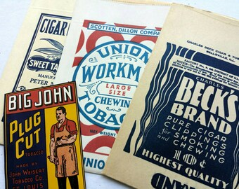 Four vintage tobacco bags and label. Cigar clippings bags. Beck's Brand. Big John, Union Workman. Vintage advertising. Tobacco ephemera