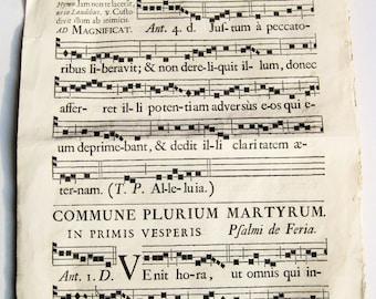 "Large vintage antiphonal / hymnal page,  19"" x 12-1/4"" Commune Plurium Martyrum. Hymns. Religious ephemera."