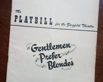"1951 Playbill ""Gentlemen Prefer Blondes"" with Carol Channing. Ziegfeld Theatre. Broadway plays. Thespians. Theater collectibles."