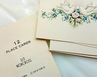 12 vintage place cards. Doves. Love birds. Bridal shower place cards. Wedding stationery. Norcross. Table decor.  Engagement. Anniversary