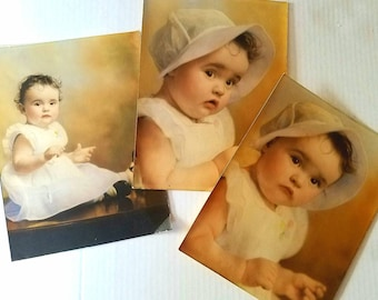"Old photos. Three vintage tinted portraits. 9-1/2"" x 7"". Child portrait. Mid-century photos. Tinted photo. Vintage portrait."