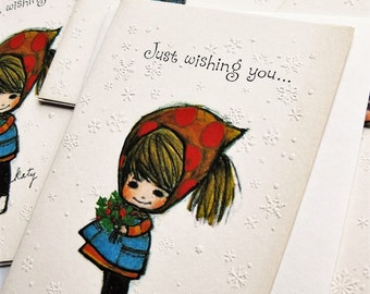 "Four vintage Katy Zablonski Zimmie Christmas cards. American Greeting ""Little Sunbeams"". Katy card. Holiday card."