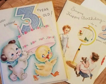 1940s birthday cards for Two Year Old and Three Year Old. Unused. Golden Bell. Rust Craft. Child birthday. Baby shower. Toddler birthday