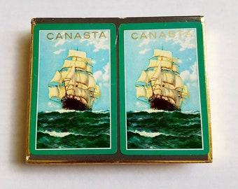 Vintage Imperial Canasta card decks. Masted Ships. Card game. Sailing ship. Nautical collectible. NOS. Cello-wrap. Sailing ship. Game night