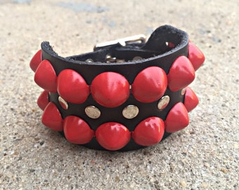 Real Leather Studded Cuff