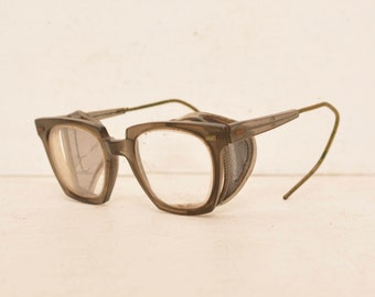 Vintage Willson Safety Glasses Square Clear Lenses Mesh Side Shields Goggles Steampunk 50s; FREE SHIPPING U.S.A.
