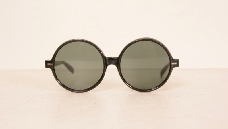 dd03815f65e0 Vintage Black Big Round Sunglasses Italy Glass Lenses Jackie
