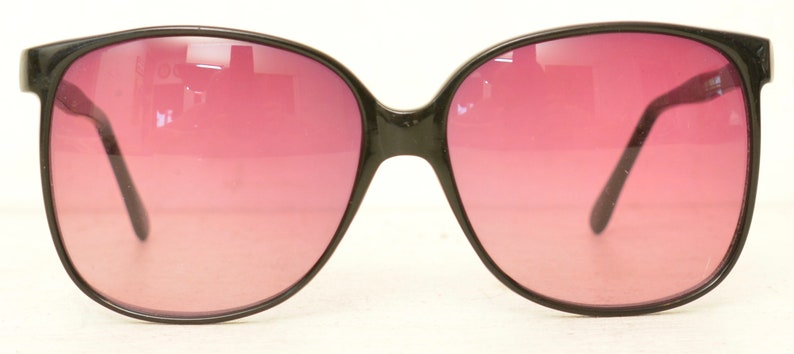 416524fe4 Funky Oversized Black Sunglasses with Purple Lenses Vintage   Etsy