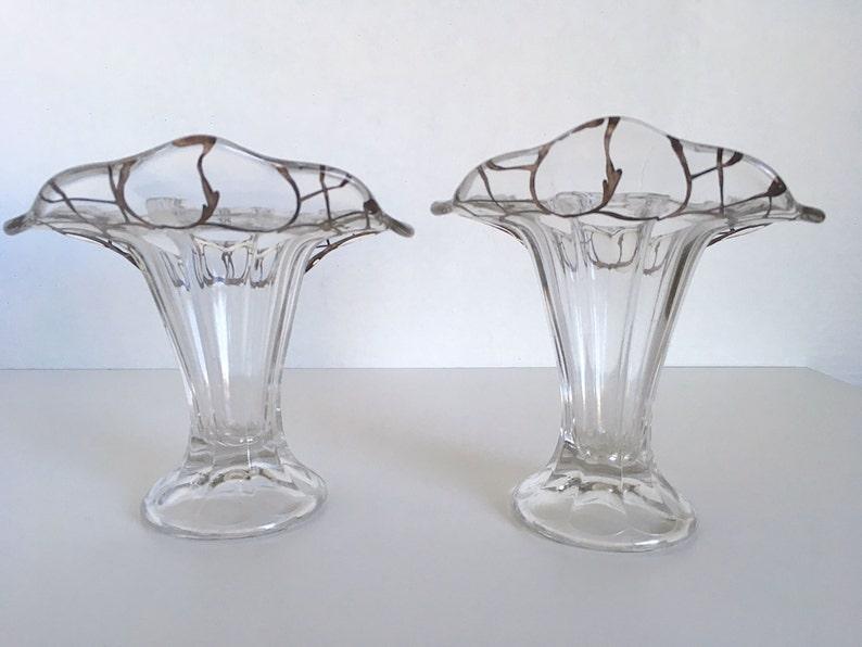 Art Nouveau Glass Vases Silver Overlay Vases Overlay Glass Vases