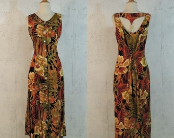 8ae0ec0f67e Vintage 80s Dress   California Krush Tropical Hawaiian Rain Forest Jungle  Cutwork Open Wood Bead Back Midi Sundress
