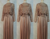Vintage 70s Dress Miss Elliette Dusty Mauve Rose Lace Overlay Slinky Full Skirt Hostess Maxi Party Gown