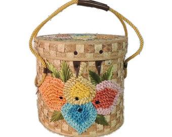 Vintage 50s Purse BIG Woven Straw Raffia Flower Tropical Hawaiian Beach Picnic Basket Tote Bag Hat Box Carry On Luggage
