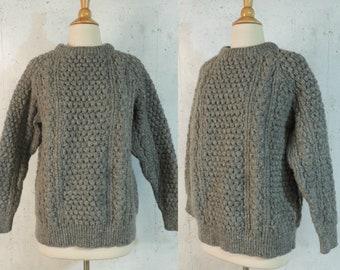 1d27b8ba966 Vintage 70s Sweater   Blarney Woolen Mills Irish Traditional Aran Gray Wool  Chunky Cableknit Fishermens Unisex Mens Jumper