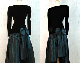 c6e3dad151d Vintage 80s Dress   Bill Levkoff Black Velvet Teal Green Taffeta  Asymmetrical Bow Swag Drop Waist Prom Party Midi