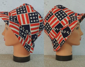 Vintage 70s Hat   Rare Novelty Political Red White Blue Stars and Stripes  VOTE Cotton Bucket 05c3cd3563db