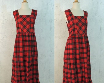 5e2511b7e1 Vintage 80s Dress   RJ Stevens Red Hunter Green Gold Tartan Plaid Prim  Preppy Schoolgirl Marm Pinafore Midi 1X