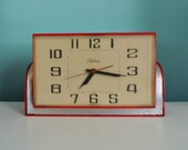 Vintage Telechron Clock 30s 40s Art Deco Red Bakelite Chrome Kitschy Diner Wall Table Top WORKS