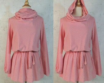 29947fb28d625 SALE Vintage 70s Tunic   Anastaslas SF Bubblegum Pink Terry Cloth Dotted  Uber Mini Cowl Neck Hoodie Beach Swimsuit Cover Jumper
