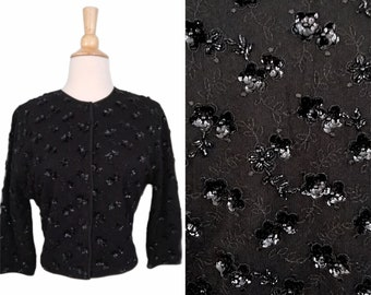 Vintage 50s Cardigan / Braemar Scotland Black Floral Hand Beaded 100% Cashmere Silk Mesh Overlay Fancy Party Jumper Sweater