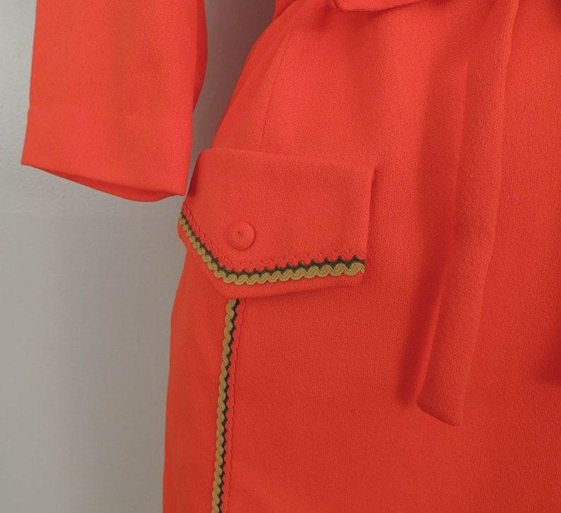 Vintage 60s Dress  Nelly Don MOD Coral Orange Double Knit Mustard Olive Ribbon Trim Belted Shift XL