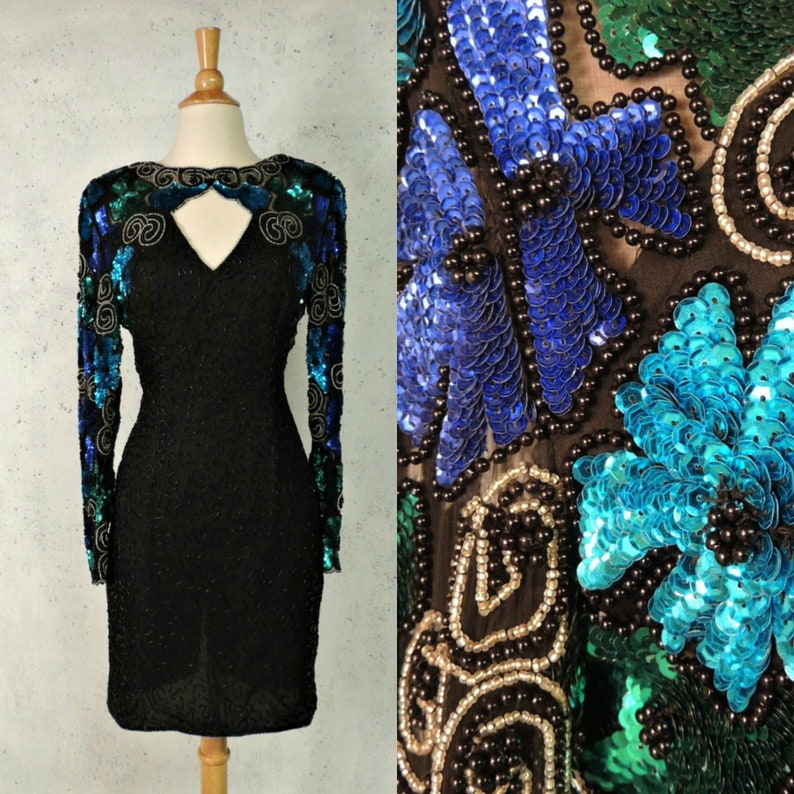 22d519989dd Vintage 80s Dress   Laurence Kazar Black Silk Heavily Beaded