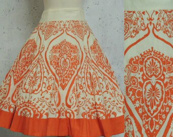Vintage 90s Skirt / does 50s Ethnic Tattoo Mehndi Henna Pattern Orange Cream Fit n Flare Swing Cotton M