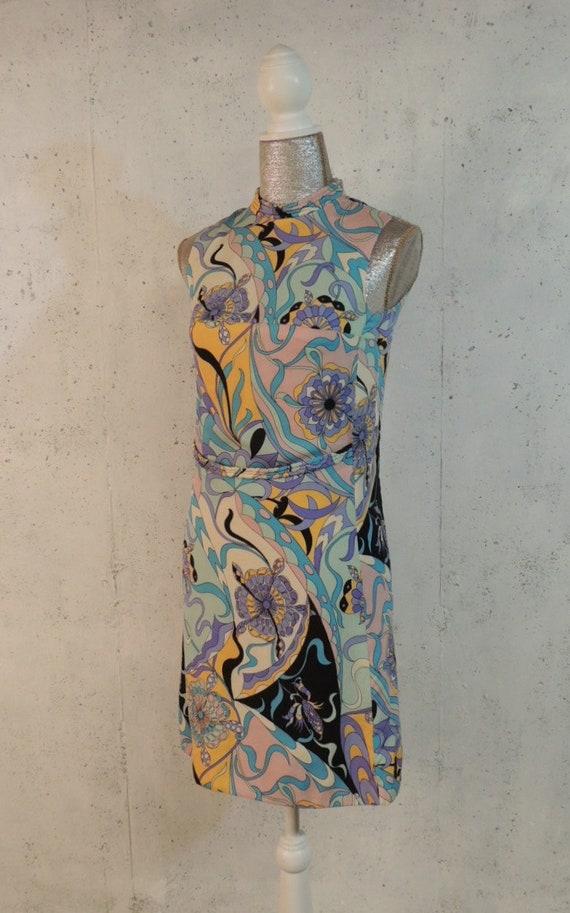 Op Art MOD Pucci Italian RARE Fontana Mini Shift Vintage Silk Crustacean Novelty 60s Dress Sorelle Era Swirl GoGo Pastel Xww0z8q