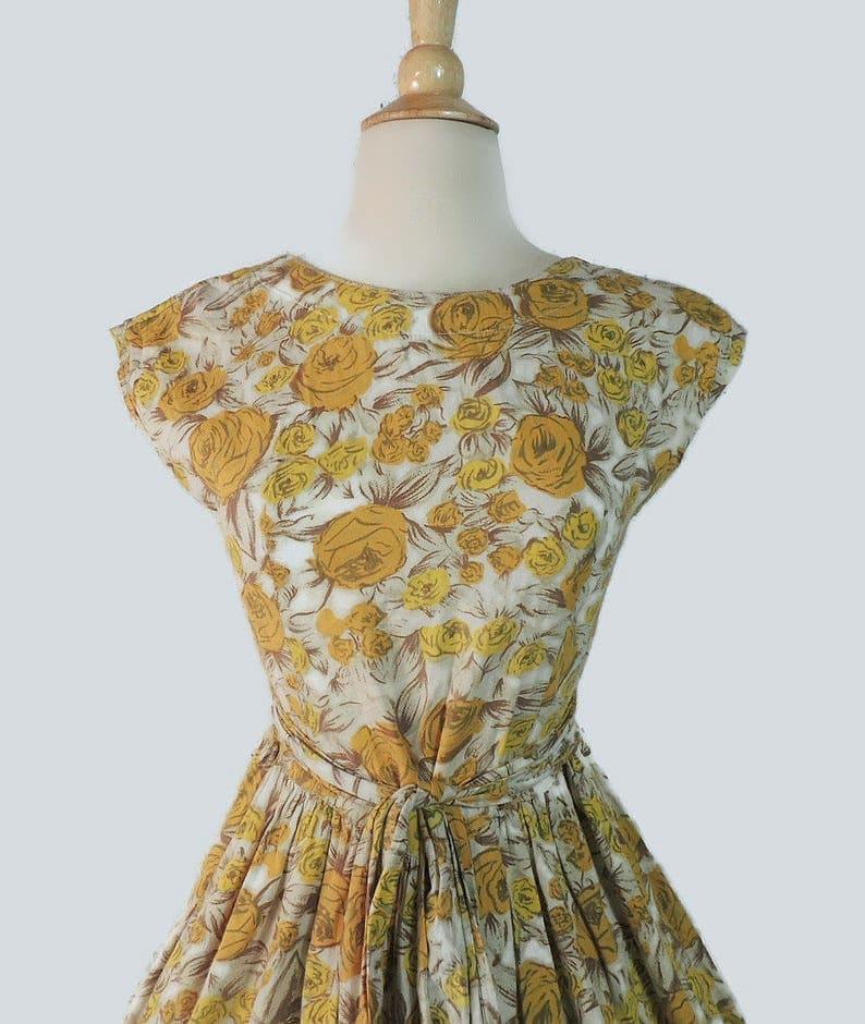 Vintage 60er Jahre Kleid / gelb Rose Garten Party ...