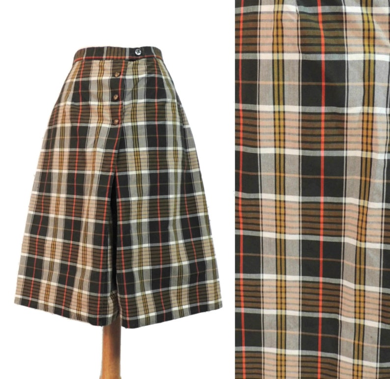 Vintage 60s Shorts Bobbie Brooks Brown Plaid Long Golf Madras Bermudas Skorts Skirt