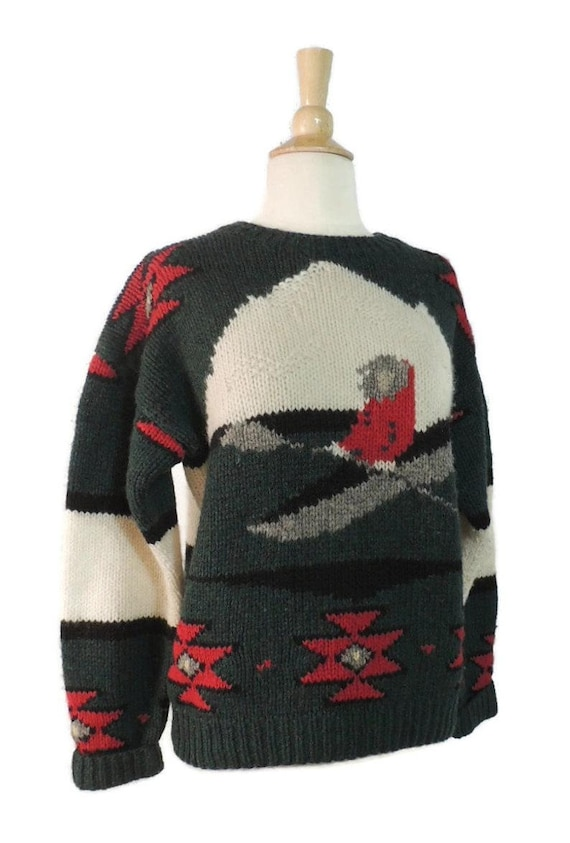 Vintage 80s Sweater / 70s Woolrich Mens Novelty P… - image 3