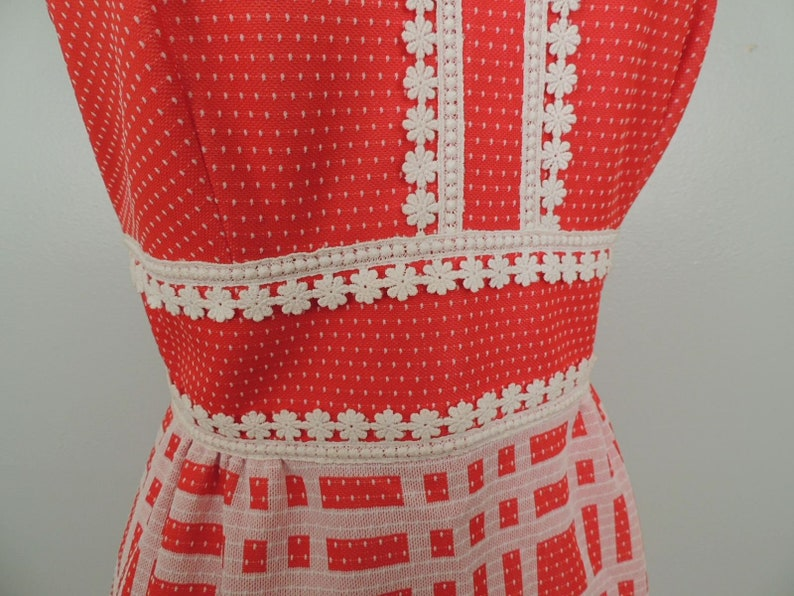 Vintage 60s Dress  Gay Gibson Red White Polka Dot Plaid Daisy Lace Stepford Wives Hostess Maxi Gown