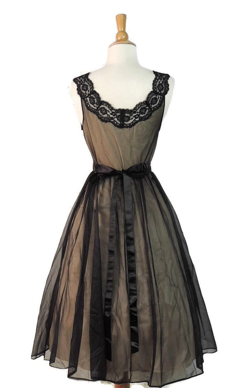 Vintage 50s Nightgown  Vanity Fair Black Nude Alencon Lace Satin Ribbon Ballerina Nightie Peignoir