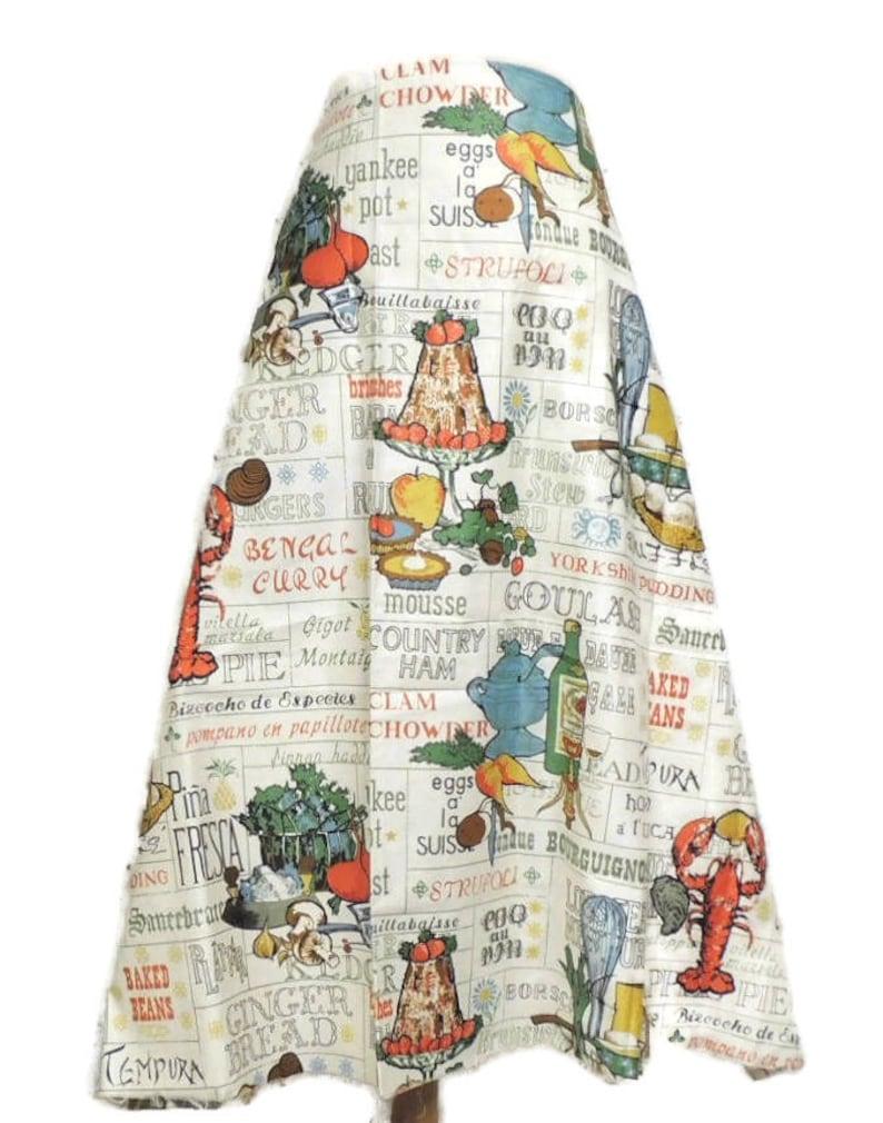 Vintage 60s Fabric Novelty Kandell Everglazed Cotton Kitsch New England Dishes Food MCM Skirt Curtain Dress