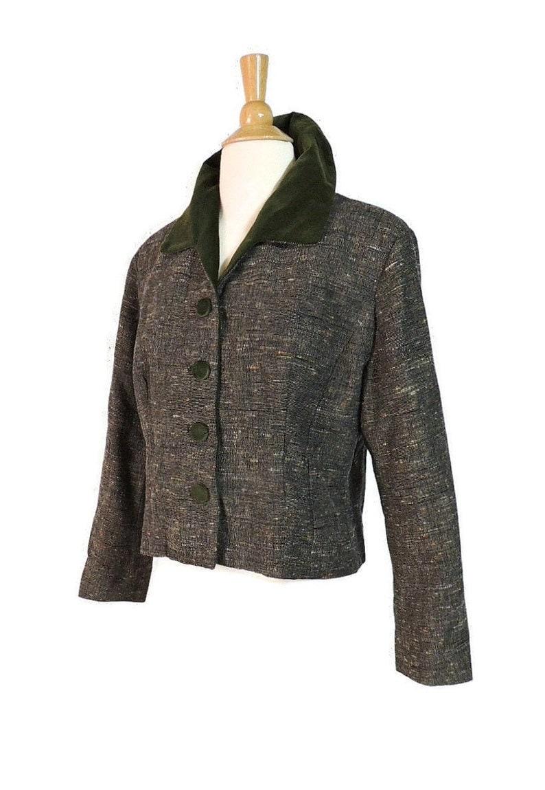 Vintage 50s Blazer  Mid Century Olive Green Velvet Gray Colored Speckled Wool Tweed Cropped Jacket
