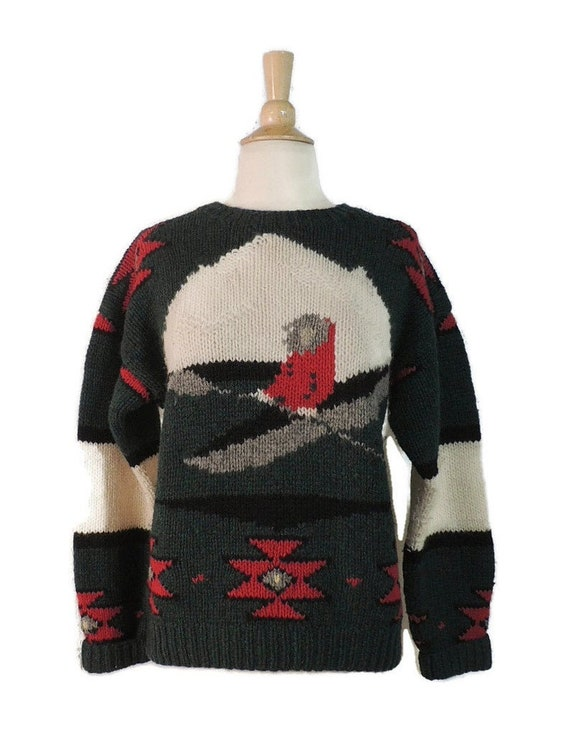 Vintage 80s Sweater / 70s Woolrich Mens Novelty P… - image 2