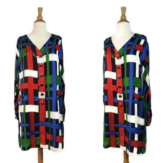 Vintage 80s Dress / Dramatic Mondrian Plaid Print